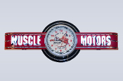MUSCLE MOTORS NEON CLOCK SIGN - Red w/ Vintage Cam Girl