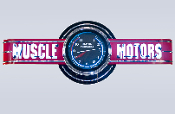 MUSCLE MOTORS NEON CLOCK SIGN - Red w/ Tachometer