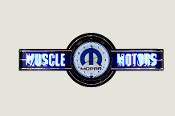 MUSCLE MOTORS NEON CLOCK SIGN - Black / Blue Mopar Clock