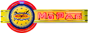 MOPAR OFFSET NEON CLOCK SIGN- Yellow Mopar Logo