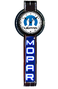 MOPAR VERTICAL NEON CLOCK SIGN- Black w/ Blue Mopar M Logo