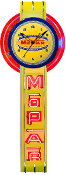 MOPAR VERTICAL NEON CLOCK SIGN- Yellow Mopar Logo